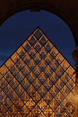 vertical stock photography | France, Paris, Musee du Louvre, Pyramide, night, image id 6-450-621