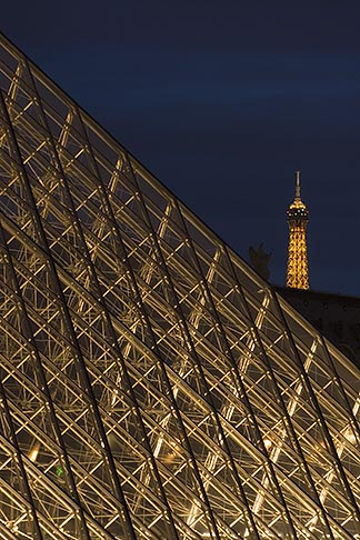 image 6-450-628 France, Musee du Louvre, Pyramide, night, and Eiffel tower