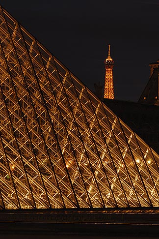 image 6-450-630 France, Paris, Musee du Louvre, Pyramide, night, and Eiffel tower
