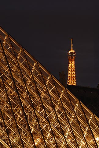 image 6-450-631 France, Paris, Musee du Louvre, Pyramide, night, and Eiffel tower