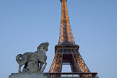 dark stock photography | France, Paris, Eiffel Tower and statue of horse, image id 6-450-6353