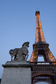 illuminated stock photography | France, Paris, Eiffel Tower and statue of horse, image id 6-450-6358