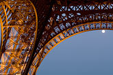 close up stock photography | France, Paris, Eiffel Tower at night with moon, image id 6-450-6370