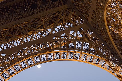 image 6-450-6371 France, Paris, Eiffel Tower at night with moon