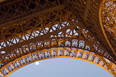 eiffel tower detail stock photography | France, Paris, Eiffel Tower at night with moon, image id 6-450-6371