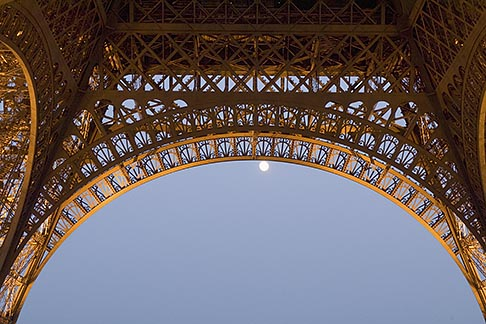 image 6-450-6372 France, Paris, Eiffel Tower at night with moon