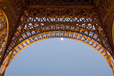 eiffel tower detail stock photography | France, Paris, Eiffel Tower at night with moon, image id 6-450-6372