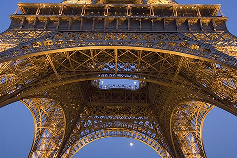 image 6-450-6380 France, Paris, Eiffel Tower at night with moon