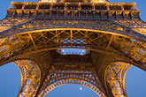 eiffel tower stock photography | France, Paris, Eiffel Tower at night with moon, image id 6-450-6380
