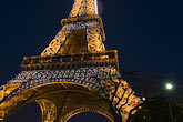eiffel tower detail stock photography | France, Paris, Eiffel Tower at night with moon, image id 6-450-6393
