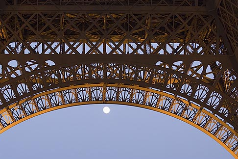 image 6-450-828 France, Paris, Eiffel Tower, detail with moon