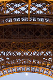 lit stock photography | France, Paris, Eiffel Tower, detail with moon, image id 6-450-829