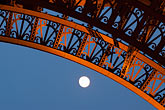 lit stock photography | France, Paris, Eiffel Tower, detail with moon, image id 6-450-831