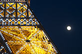 eiffel tower detail stock photography | France, Paris, Eiffel Tower at night with moon, image id 6-450-851