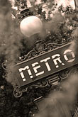 vertical stock photography | France, Paris, Metro sign, image id 6-450-9771