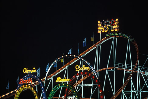 image 3-952-38 Germany, Munich, Oktoberfest, Roller Coaster at night