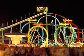 midway stock photography | Germany, Munich, Oktoberfest, Roller Coaster at night, image id 3-952-48