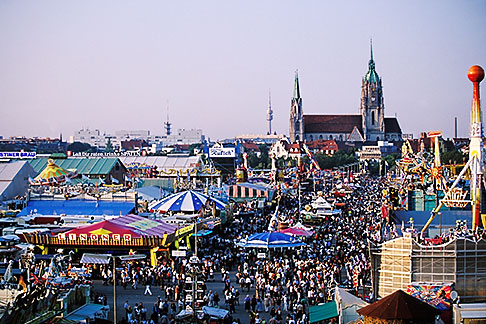 image 3-953-49 Germany, Munich, Oktoberfest, View of fairgrounds from ferris wheel