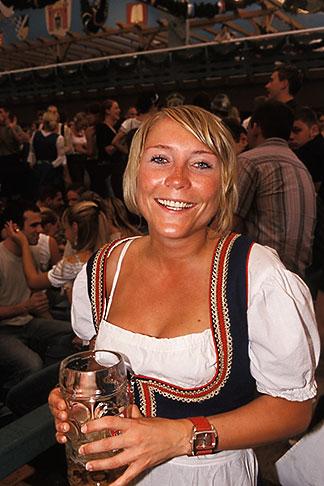 image 3-955-23 Germany, Munich, Oktoberfest, Woman in beer hall