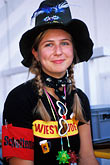 woman in traditional dress stock photography | Germany, Munich, Oktoberfest, Woman in Oktoberfest hat, image id 3-955-39