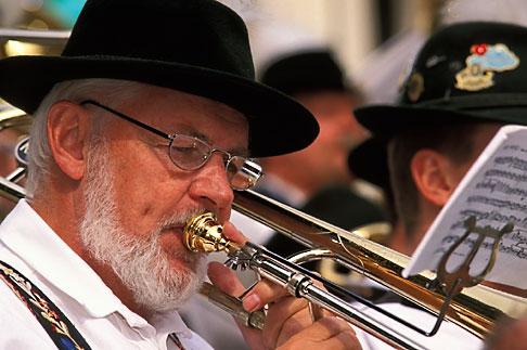 image 3-956-54 Germany, Munich, Oktoberfest, Band concert trombone player