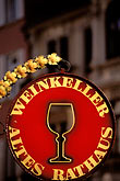 dine stock photography | Germany, Wiesbaden, Sign for wine cellar in old town hall, image id 5-281-14