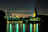downtown skyline at night stock photography | Germany, Frankfurt, Skyline and Main River at night, image id 5-534-3