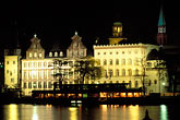 reflections stock photography | Germany, Frankfurt, Riverfront with Church of St Paul at night, image id 5-534-7