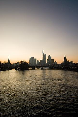 image 8-710-1409 German, Frankfurt, City skyline with Main River at sunset