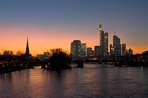 image 8-710-1421 German, Frankfurt, City skyline with Main River at sunset
