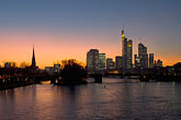 city skyline at sunset stock photography | German, Frankfurt, City skyline with Main River at sunset, image id 8-710-1421