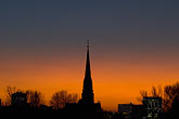 steeple stock photography | German, Frankfurt, Dreik�nigskirche, Church steeple at sunset, image id 8-710-1428
