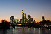 city skyline at sunset stock photography | German, Frankfurt, City skyline with Main River at sunset, image id 8-710-1437