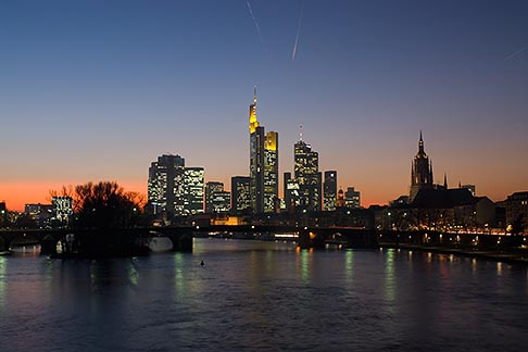 image 8-710-1441 German, Frankfurt, City skyline with Main River at sunset