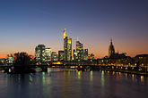 city skyline at sunset stock photography | German, Frankfurt, City skyline with Main River at sunset, image id 8-710-1447