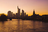 city skyline at sunset stock photography | German, Frankfurt, City skyline with Main River at sunset, image id 8-710-150