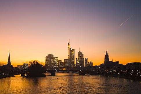 image 8-710-178 German, Frankfurt, City skyline with Main River at sunset