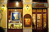 dark stock photography | Greece, Athens, Plaka, Shopfront at night, image id 3-650-5
