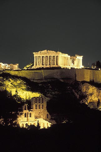 image 3-650-81 Greece, Athens, Acropolis, Parthenon at night from Filopapou Hill