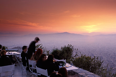 3-654-8  stock photo of Greece, Athens, Restaurant atop Mount Likavitos