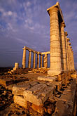 sun temple stock photography | Greece, Attica, Cape Sounion, Temple of Poseidon, image id 3-670-24