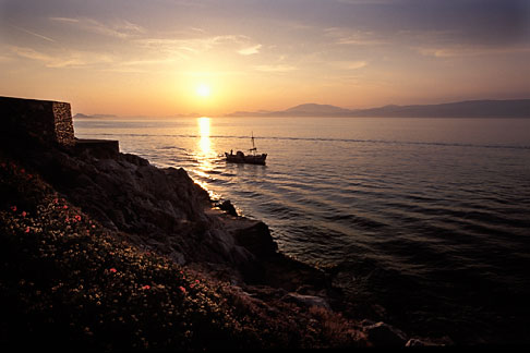image 3-700-74 Greece, Hydra, Sunset and fishing boat