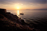orange stock photography | Greece, Hydra, Sunset and fishing boat, image id 3-700-74