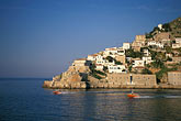 fortress stock photography | Greece, Hydra, Entrance to harbor, image id 3-702-40
