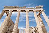 parthenon stock photography | Greece, Athens, Acropolis, Parthenon, view of columns form below, image id 7-640-5202