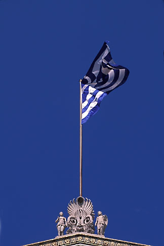 image 9-250-38 Greece, Athens, Flag over Athens University