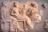 horizontal stock photography | Greece, Athens, Frieze of Poseidon, Apollo & Artemis, Acropolis Museum, image id 9-252-75