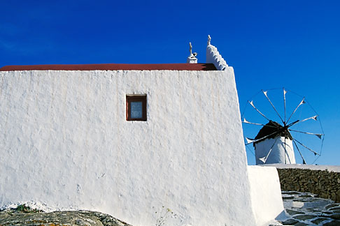 image 9-260-10 Greece, Mykonos, Windmill and house