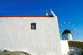 blue sky stock photography | Greece, Mykonos, Windmill and house, image id 9-260-10