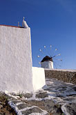 blue sky stock photography | Greece, Mykonos, Windmill and house, image id 9-260-12